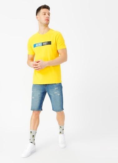 Aeropostale Bisiklet Yaka Tişört Sarı